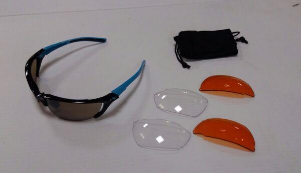 Avenir Polvere Multi Lente Occhiali Nero Anteriore Azzurro Braccia Top Angurie