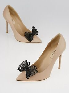 detailed look for whole family details for NEW VALENTINO Beige Leather Lace Bow Black Pointed Toe Pumps Heels ...