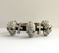 Butler and Wilson Clear LARGE Skull Cross Bracelet NEW
