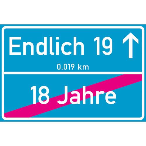 Geburtstag Schild in 12 Farben 300 x 200 x 3 mm Endlich 19 Jahre Ortsschild 19