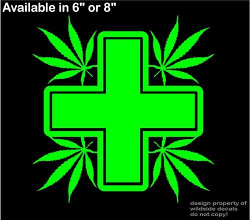 Marijuana Vinyl Decal storefront window medical cannabis cross car sticker