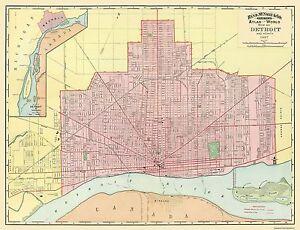 Old City Map Detroit Michigan Rand McNally X EBay - Mapa de michigan