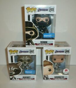Avengers-Endgame-Funko-Pop-Lot-of-3-Figures-Rocket-Ronin-Hawkeye-Exclusives