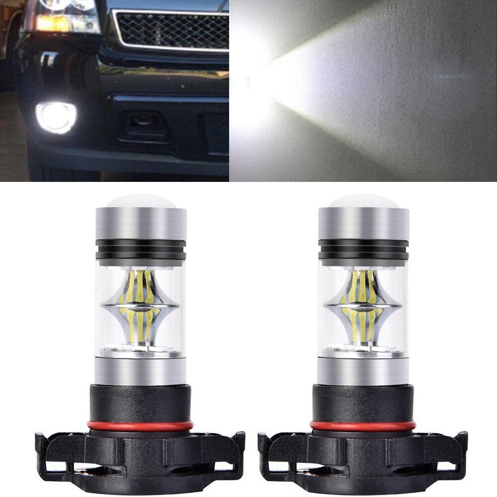 1 Pair 2*80W H16 5202 LED Fog Light Bulbs 6000K Super White High Power DRL Bulbs