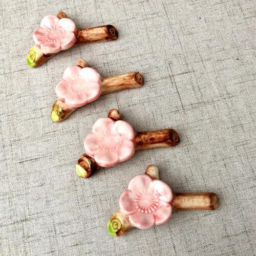 1x Japanese Ceramic Sakura Chopstick Rest Spoon Fork Rack Pen Holder Table Decor