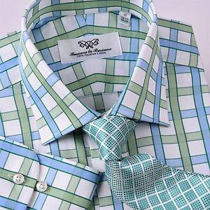 Blue Green Plaids /& Checks Twill Formal Business Dress Shirt Shepherd Plaid Boss