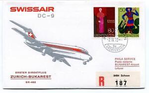 100% Vrai Ffc 1973 Swissair First Direct Flight Zurich Bukarest Registered Liechtenstein