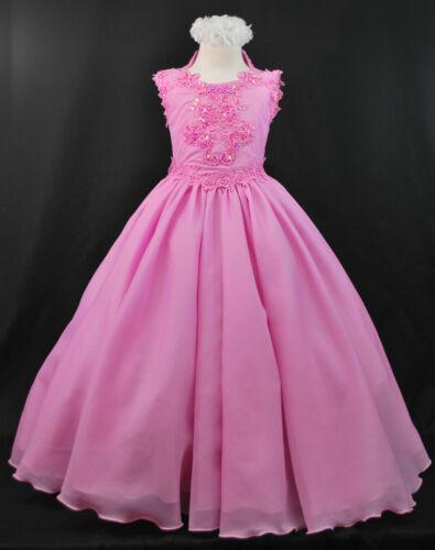Girl National Pageant Wedding Graduation Formal Dress Fuchsia 3,4,5,6,7,8,10-14