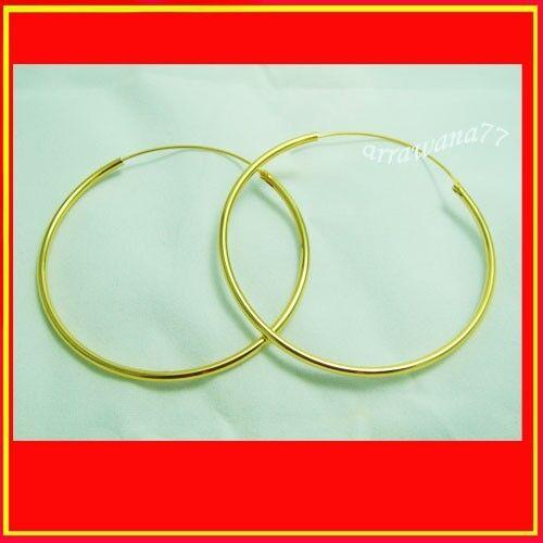 50 mm Hoop 22K 23K 24K THAI BAHT YELLOW GOLD GP Earrings Jewelry