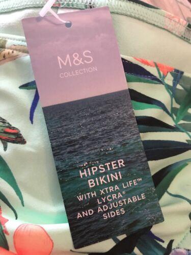 M/&S Marks Size 8  Mint Mix Floral Print Hipster Bikini Bottoms Swim BNWT