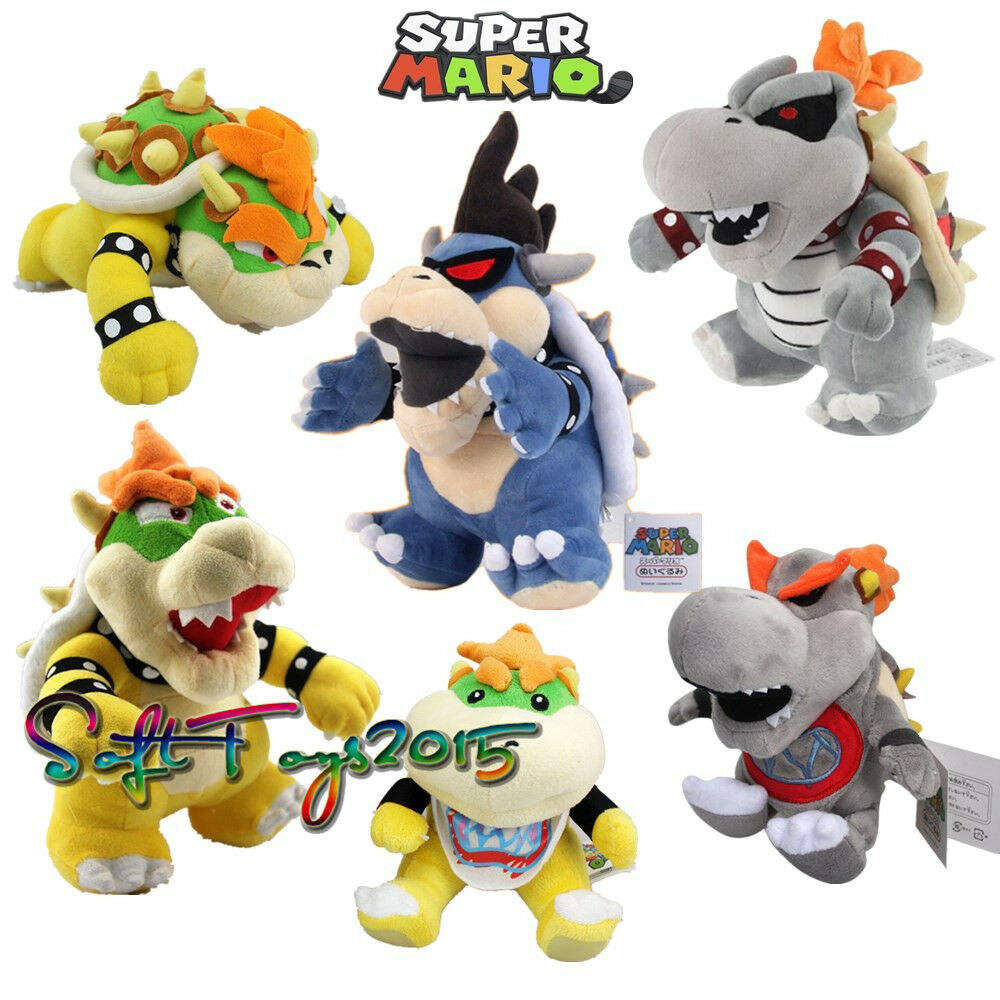 Lot of 6 Super Mario Bros King Dry Bowser Jr BB Dark Koopa Family Plush Dolls