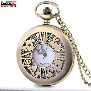 Antique-Bronze-Alice-In-Wonderland-Pocket-Watch-Quartz-Necklace-Retro-Chain-Gift