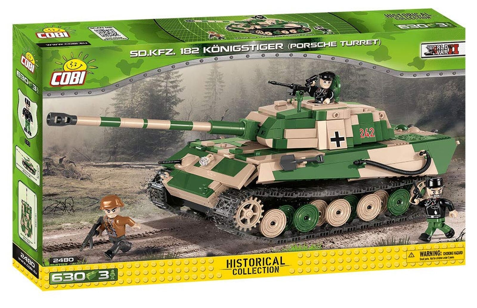 COBI 2480 Small Army Tiger VIB Pzkpfw Tiger Army II (600 Pcs) Toy, Beige 5288bc