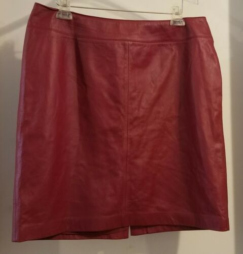LAUREN RALPH LAUREN RED LEATHER SKIRT SIZE 16