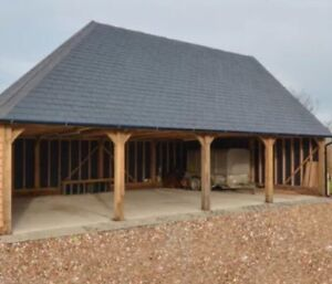 Green-Oak-framed-Garage-4-Bay-Cart-Lodge-Green-Oak-Barn-home-office