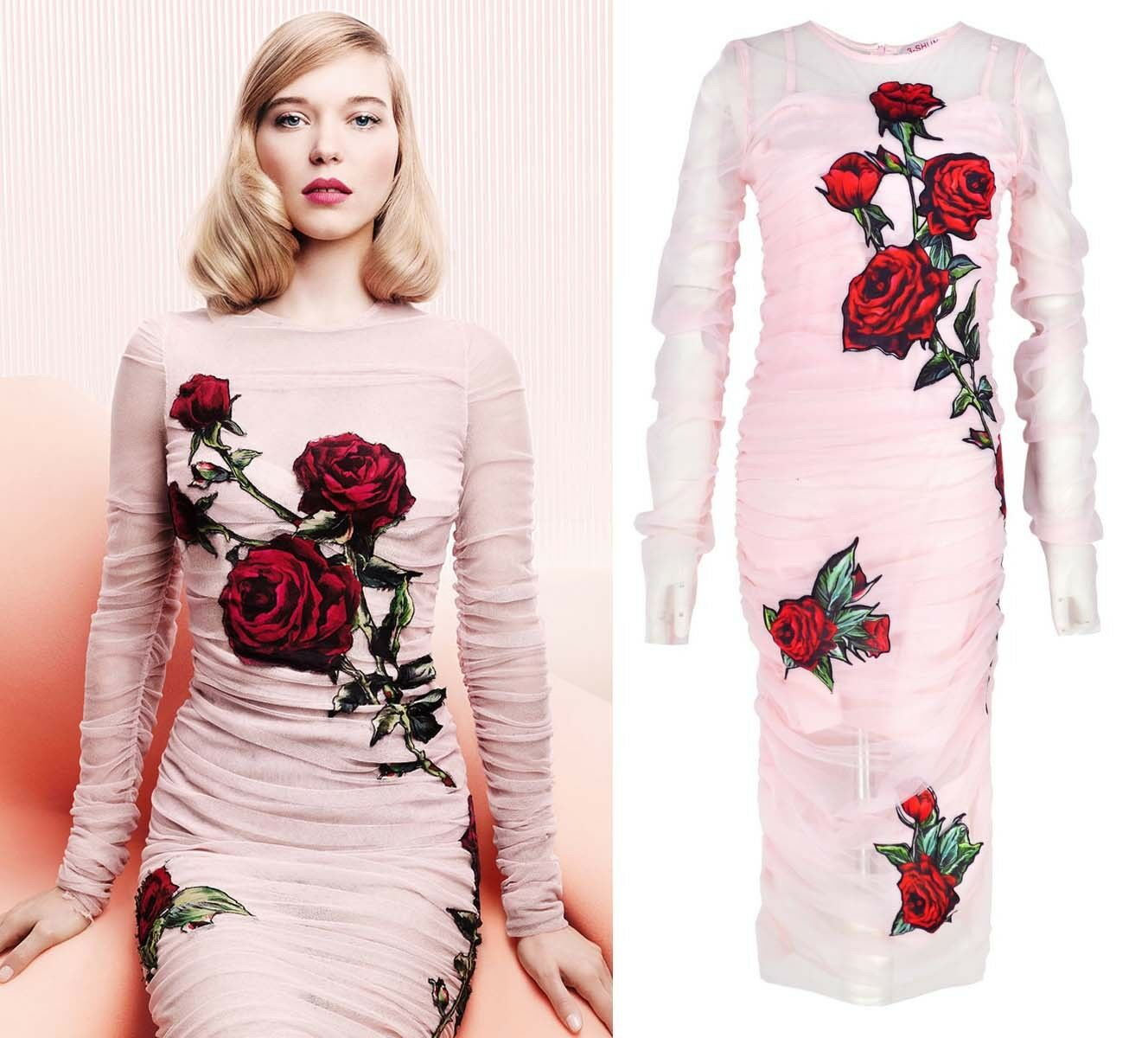 Rosa Applique Patches Ruched Draped Tulle Sheath Rosa Dress Bodycon Sheer Midi