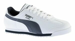 super popular 9f7a0 32310 Image is loading PUMA-Roma-Basic-White-New-Navy-Mens-Sneakers-