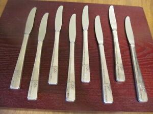 Oneida-Grenoble-8-Set-Gitter-Messer-Prestige-Silverplate-Bestecke-Lot-A