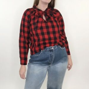 Madewell Tie Neck Buffalo Check Plaid Pussybow Blouse Small Womens Red Black