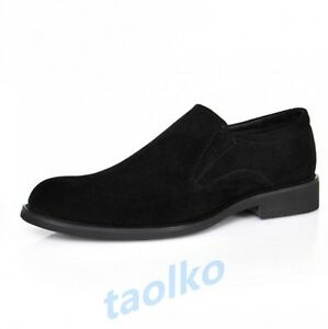 Classic-Men-039-s-Suede-Dress-Formal-Slip-On-Pointed-Toe-Business-Groom-Casual-Shoes