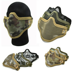 Airsoft-Steel-Mesh-Half-Face-Mask-Tactical-Protect-Strike-Paintball-HallowPYB