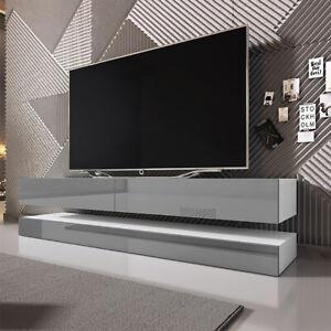 Details zu TV-Lowboard AVIATOR Hängend in Holzoptik Matt, Weiß Schwarz Grau  Hochglanz 140cm