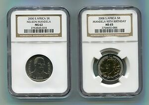 2-X-NGC-Mandela-2000-MS62-amp-2008-MS65-Certified-Coin-Combo-South-Africa