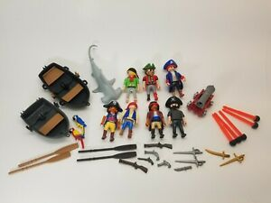 Playmobil-Pirate-7-Figure-Lot-With-Accessories-Boats-Shark-Animals-Cannon-guns