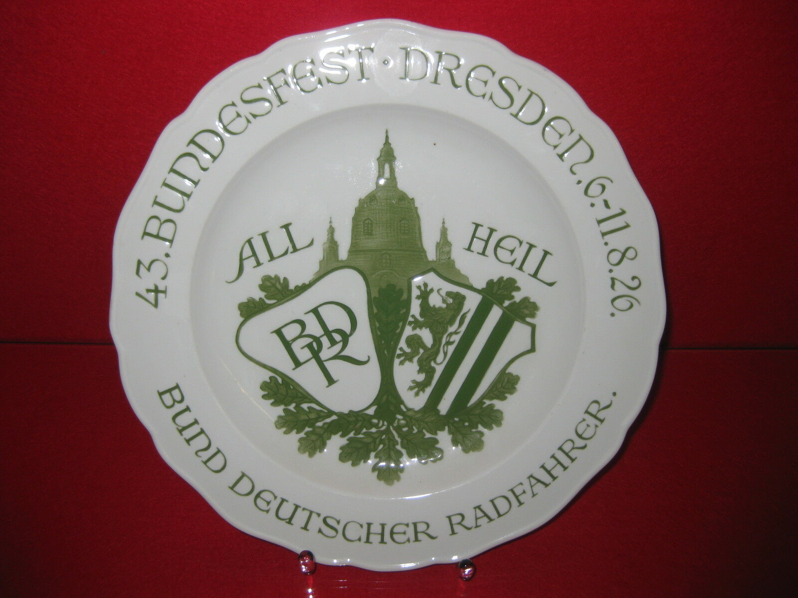 Meissen Wandteller Teller BDR Bund Deutscher Radfahrer 1926 Dresden Frauenkirche