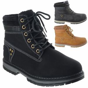 Womens Winter Ankle Boots Ladies Army Combat Lace Up Flat Grip Sole Biker Shoes