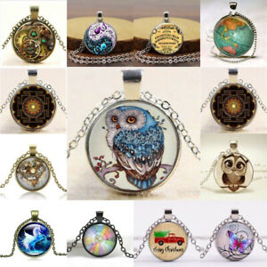 Women-Men-Cabochon-Glass-Pendant-Silver-Bronze-Chain-Lucky-Necklace-Jewelry