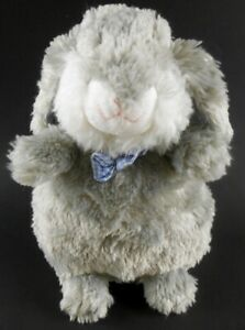 Pier-One-Imports-Gray-amp-White-11-034-Easter-Bunny-with-Blue-Gingham-Bow-Tie-amp-Ears