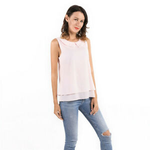 Fashion-Shirt-Women-Lady-Blouse-Tops-Sleeveless-Peter-Pan-Collar-Shirt-Q