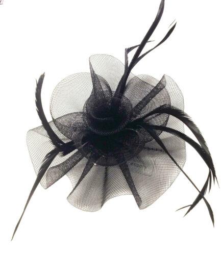 Ladies Looped Net Feather Fascinator Beak Clip Weddings Ladies Day Races