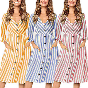 0ff6bcf7c85d Details about Womens V Neck Buttons Pocket Striped Beach Long Sleeve Swing  Shirt Dress Casual