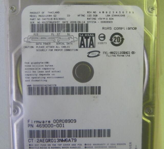 120GB Fujitsu MHZ2120BH Laptop SATA Hard Drive P/N CA07018-B31300C1 FW: 00808909