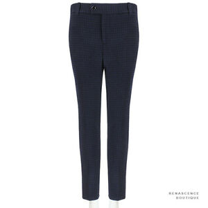 Julien-David-Black-Midnight-Blue-Slim-Fitting-Houndstooth-Trousers-Pants-S-IT38