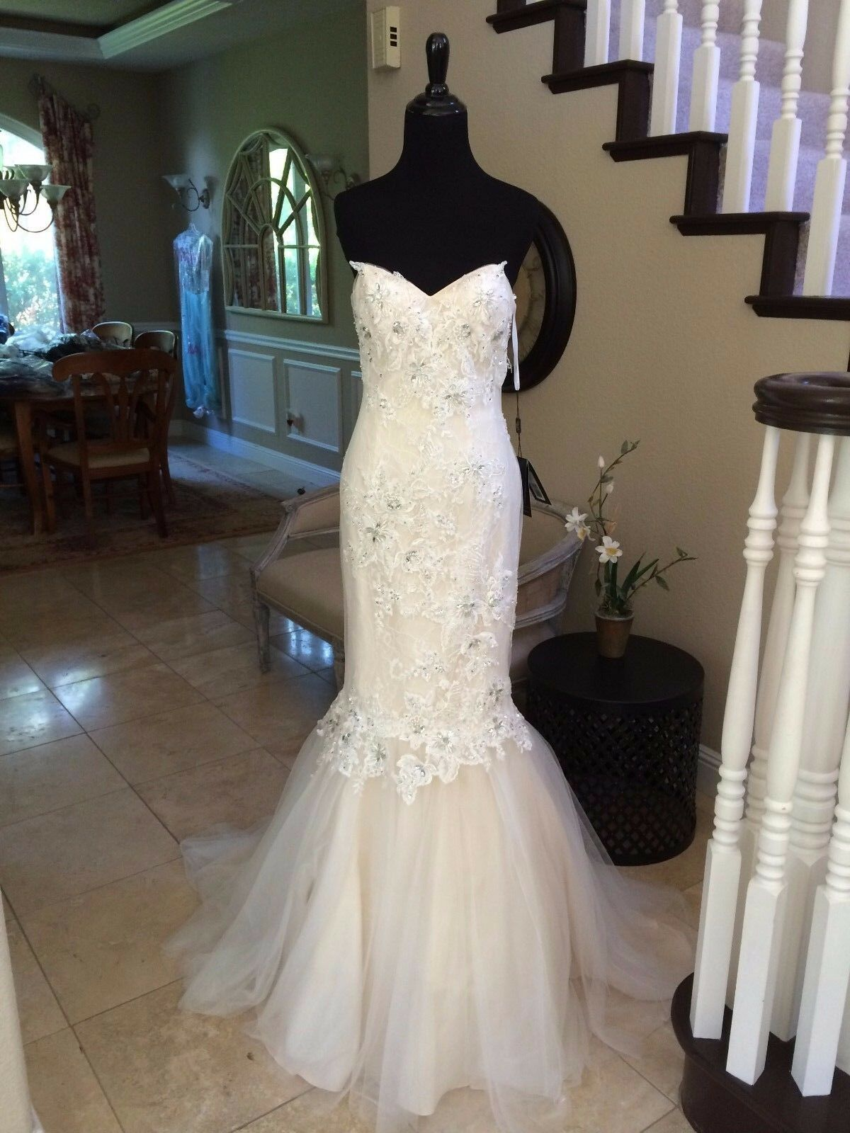 770 NWT IVORY LACE TERANI COUTURE PROM PAGEANT PAGEANT PAGEANT FORMAL WEDDING DRESS GOWN SIZE 4 777d61