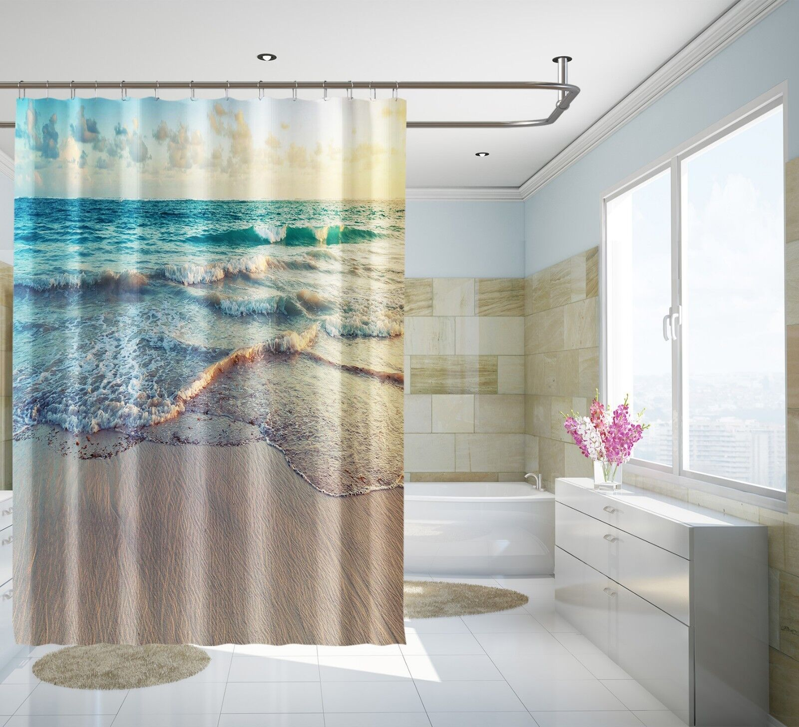 3D Ocean Beach 4343 Rideau de Douche Imperméable Fibre Salle de Bain Home Windows Toilette