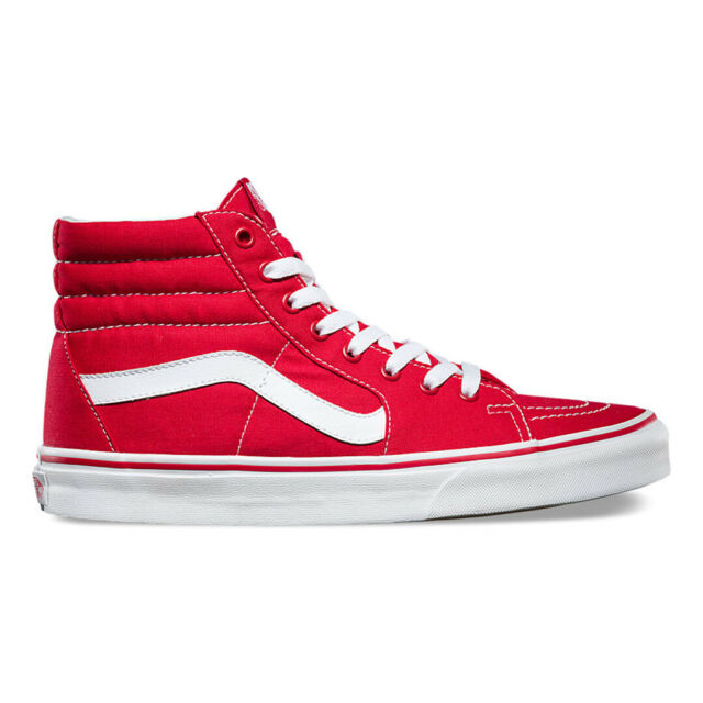 10df5f9057 VANS Sk8 Hi Red Mens Skateboarding Shoes Classic Canvas for sale ...