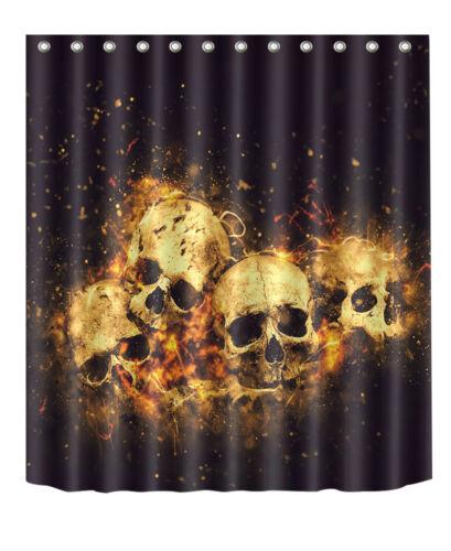 "72X72/"" Shantou Skull in Fire Bathroom Fabric Shower Curtain Halloween Bath Mat"