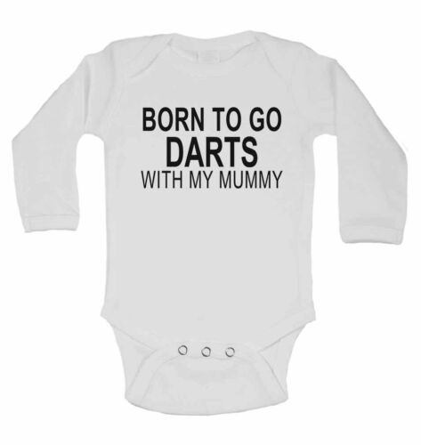 Long Sleeve Baby Vests for Boys Born to Go Darts with My Mummy Girls