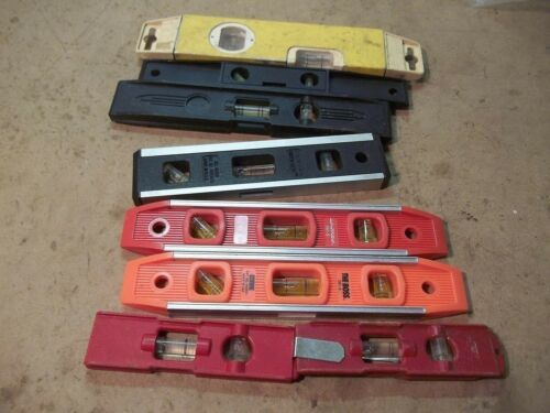 "8 Old Plastic Levels 5"" to 10"" long"