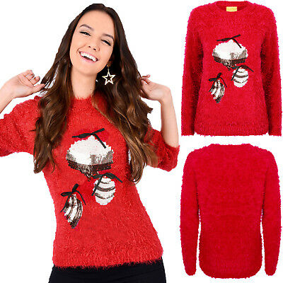 Christmas Wishes Womens 3d Sequin Baubles Festive Jumper Ladies Knit Sweater Phantasie Farben