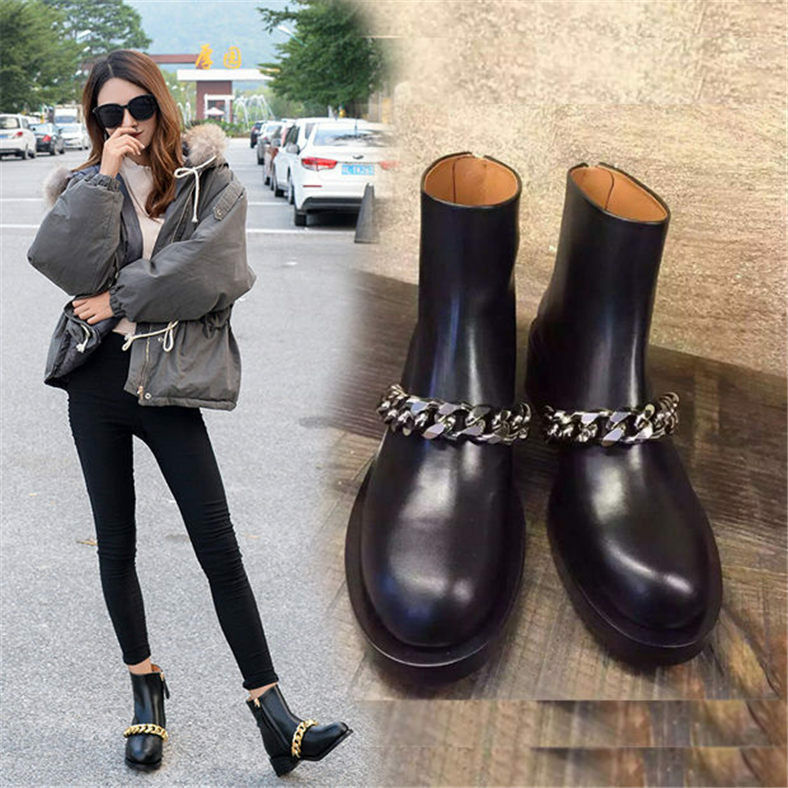 Womens Cow Leather Round Toe Ankle Boots Golden Silver Chain Oxfords Shoe Winter