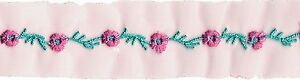 1 YARD Pink Turquoise Flower Embroidery Trim Ribbon