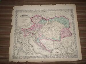 Hand-Colored-Map-of-Austria-1856-G-W-and-C-B-Colton-amp-Co-New-York