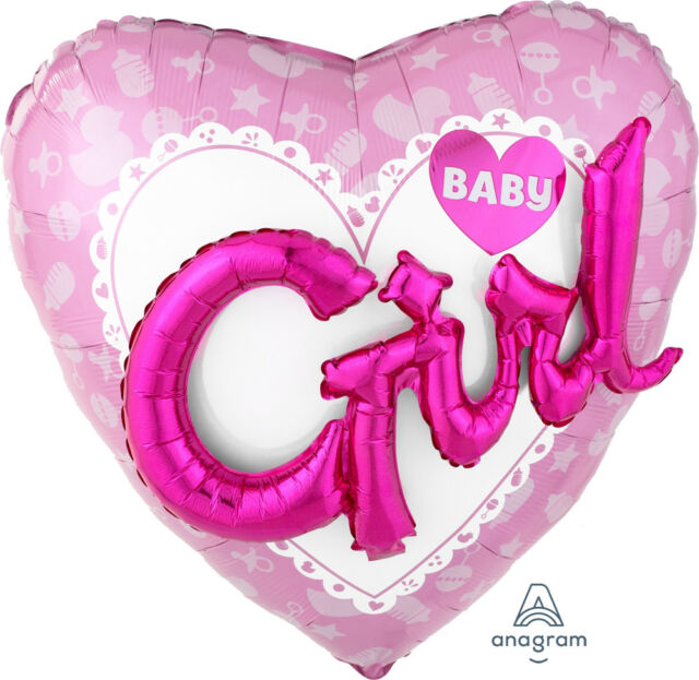 Baby Girl Heart 3D Effect Large Foil Multi Balloon 91cm Baby Shower Decoration