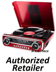 ION-1965-FORD-MUSTANG-LP-Car-Styled-Turntable-Record-Player-AM-FM-Radio-RED-NEW