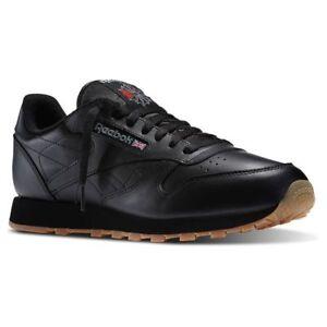 a7b02ec0aa99f Image is loading Reebok-CL-Classic-Leather-49798-Black-Gum-Original-